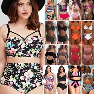 47ba4426221a2 Plus Size XL Women High Waist Bikini Set Push-Up Bar Swimsuit ...