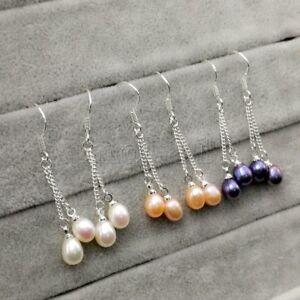 3Pairs-7-8MM-White-Pink-Black-Freshwater-Pearl-925-Sterling-Silver-Hook-Earrings