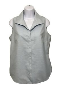 Talbot's Woman Blue and White Striped Sleeveless Button Down Top Size 6p