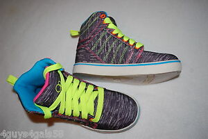 Girls Shoes DARK PURPLE STRIPE HIGH TOP SNEAKERS Neon Accents SIZE ... 594aa388dc0