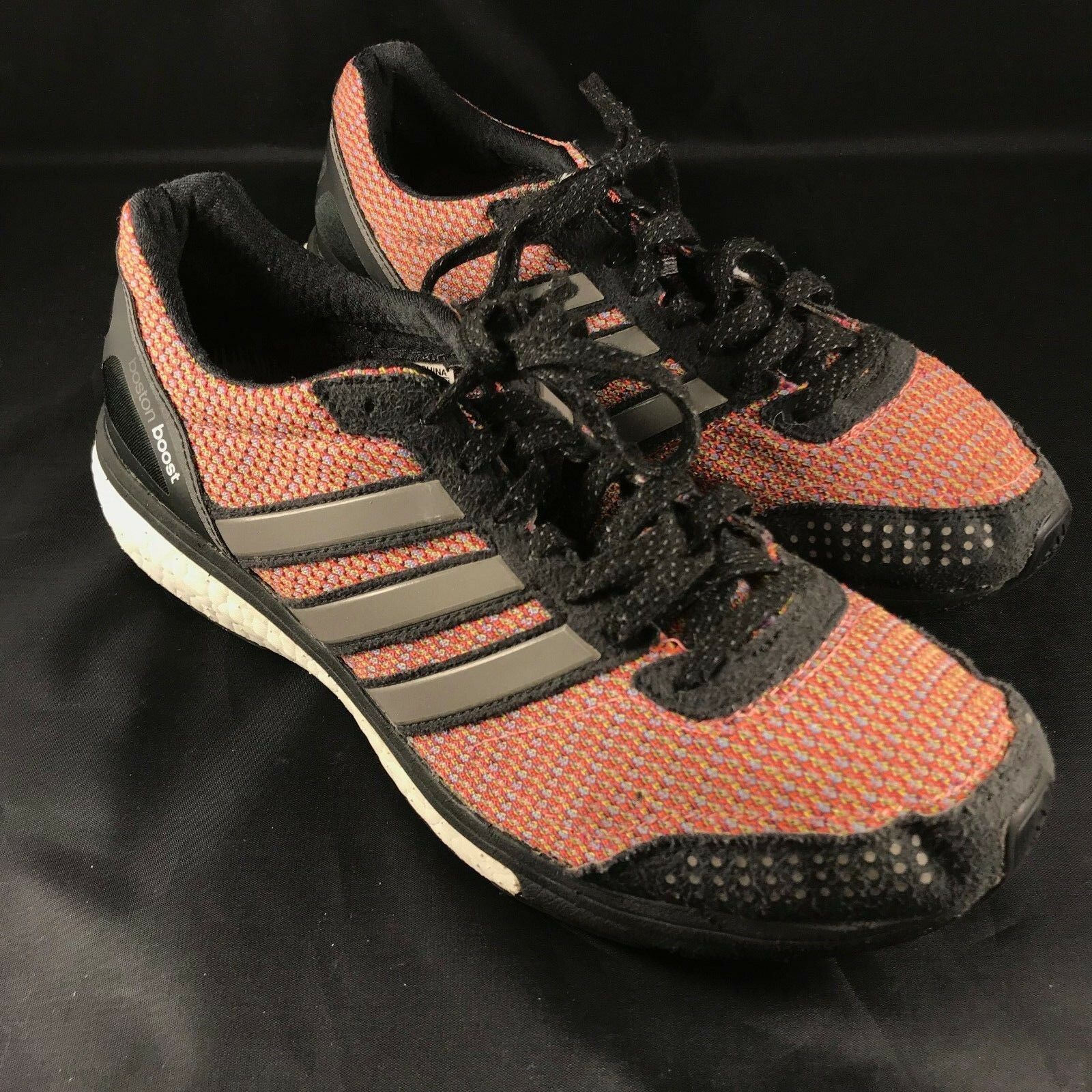 Adidas Excellent Adidas Boston Boost Mens 9.5 Red Black 43 1/3 EUR Racing Flat