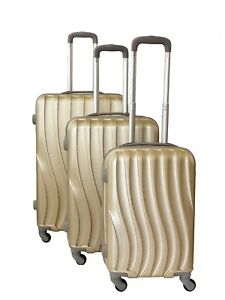 2d6f367c93be Details about 3 piece suitcase set hard shell luggage four wheel in gold,  green and blue