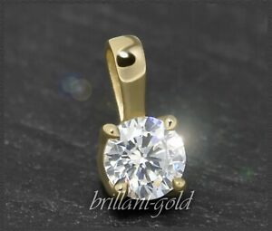 Brillant-Anhaenger-585-Gold-mit-0-38ct-in-VVS-Damen-Diamantanhaenger-14-Karat