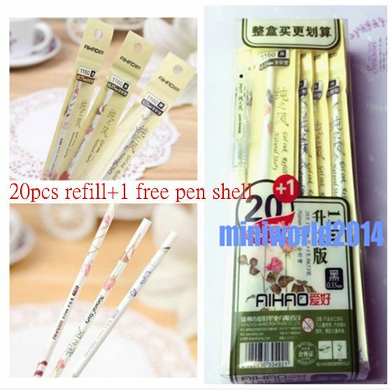 20PCS-0.35mm Black Ink Color Smoothing Gel Ink Pen Refills Free Shipping