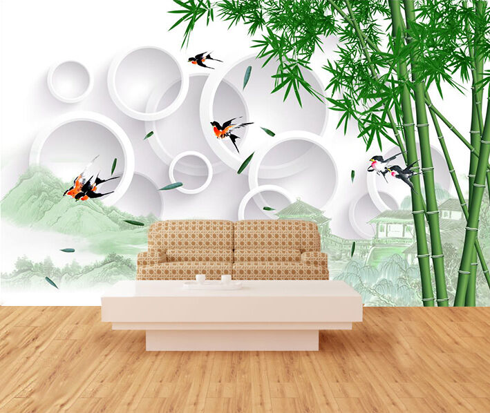 3D Swallow Bamboo Wall Paper Wall Print Decal Wall Deco Indoor Wall Murals