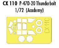 Eduard 1//72 P-47D-20 Thunderbolt paint mask for Academy  # CX110