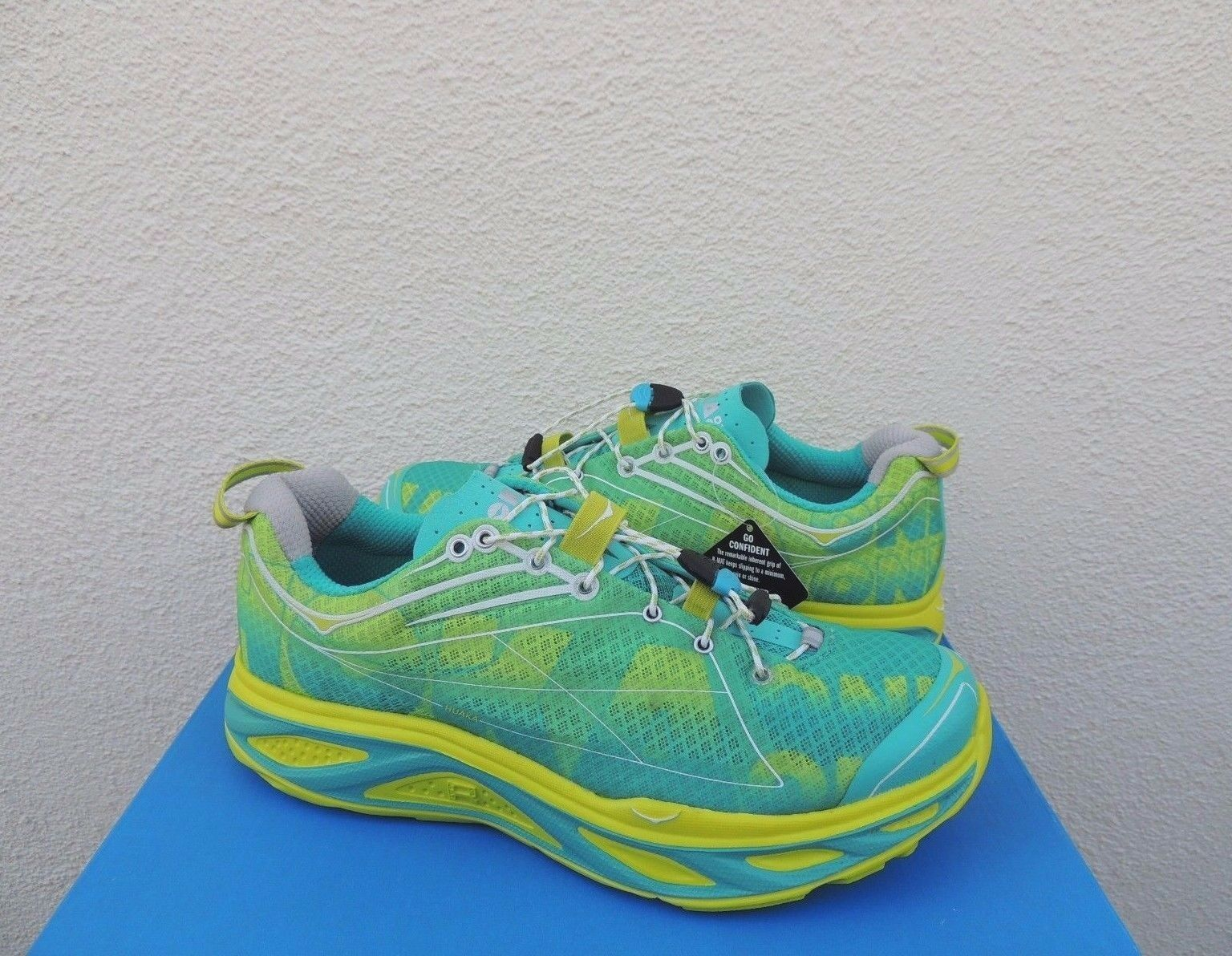 HOKA ONE ONE HUAKA ACID  AQUA TRAIL RUNNING SHOES, WOMEN US 11  EUR 44 NEW