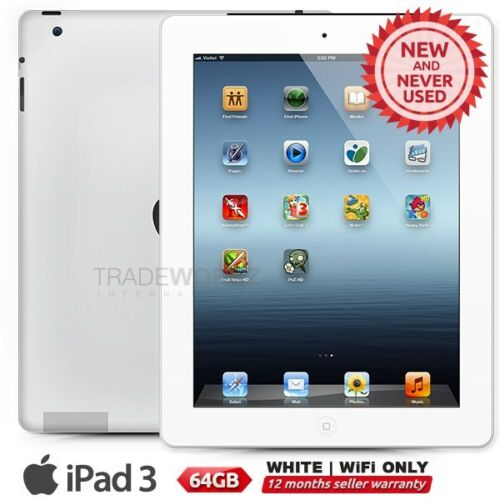 """1 of 1 - New APPLE iPad 3 3rd Gen White 64GB WiFi Only 9.7"""" Retina Screen Tablet"""