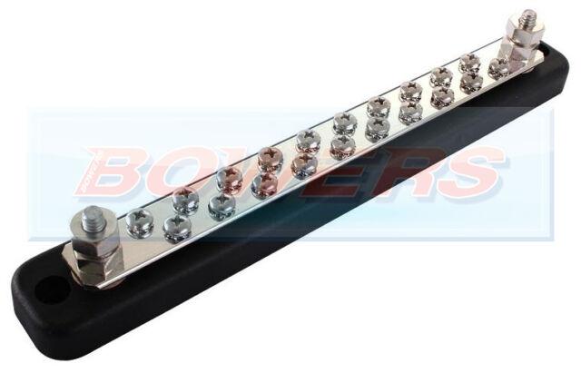 15PC//Set 6Point Auto Marine Power Distribution Bus Bar Terminal Block 600V 15A h