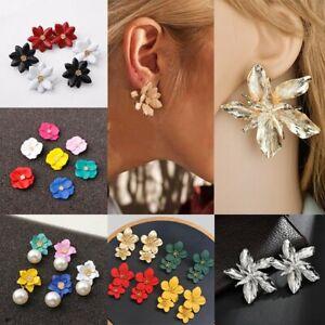 Hot-Pearl-Women-Flower-Drop-Dangle-Earrings-Ear-Stud-Jewelry-Double-Layer-Gifts