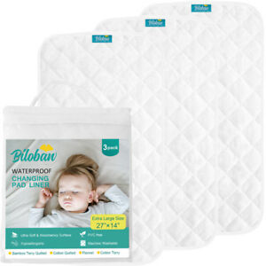 Infant-Ultra-Soft-Bomboo-Baby-Diaper-Changing-Pad-Cover-Liner-Waterproof-3-Pack