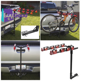 Image is loading Bike-Rack-4-Bicycle-Hitch-Mount-Carrier-Car- Bike Rack 4 Bicycle Hitch Mount Carrier Car Truck Auto Silver