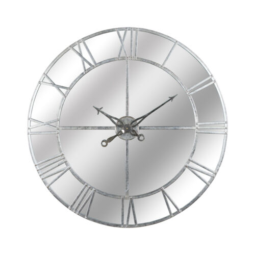 CAN BE PUT ON A WALL IN THE HOME LARGE SILVER FOIL MIRRORED WALL CLOCK