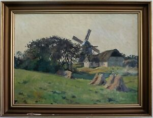 Dorfhang-with-Windmill-Impressionist-1950-Signed-Hard-Readable-50-Oil-to-The