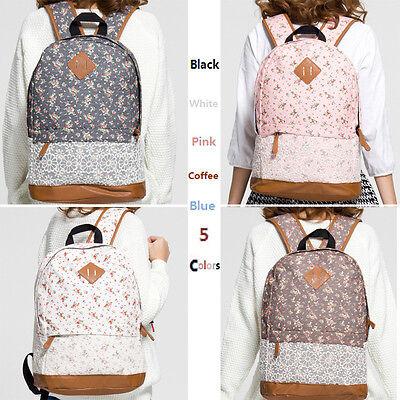 Girls Womens Floral Lace Canvas Travel Satchel Shoulder Bag Backpack Rucksack