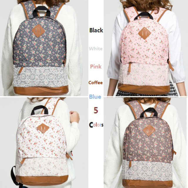 Girls Womens Floral Lace Canvas Travel Satchel Shoulder Bag Backpack Rucksack