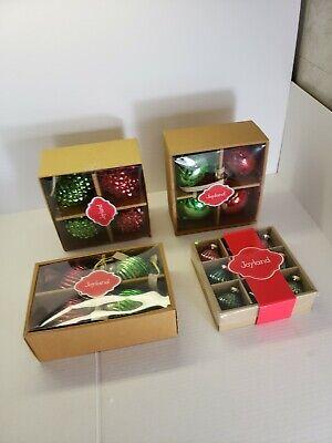 "Set 4 Vintage Kugel Style Ornaments Red Green Glass Teardrop Hobnail 4/""  3 Boxes"