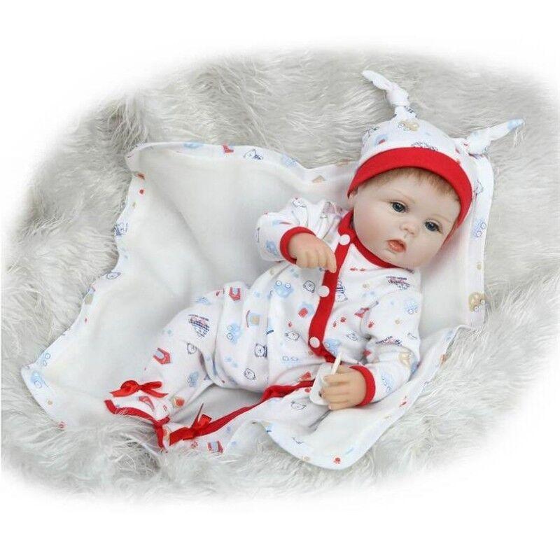 16  Hecho a Mano Niño Muñeca Recién nacidos bebé Reborn de vinilo de Silicona Muñecas + Ropa