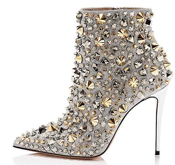 Womens Rhinestones Rivet Pointed Toe Ankle Boots High Heels Heels Heels Stud Club shoes F644 8b0aff