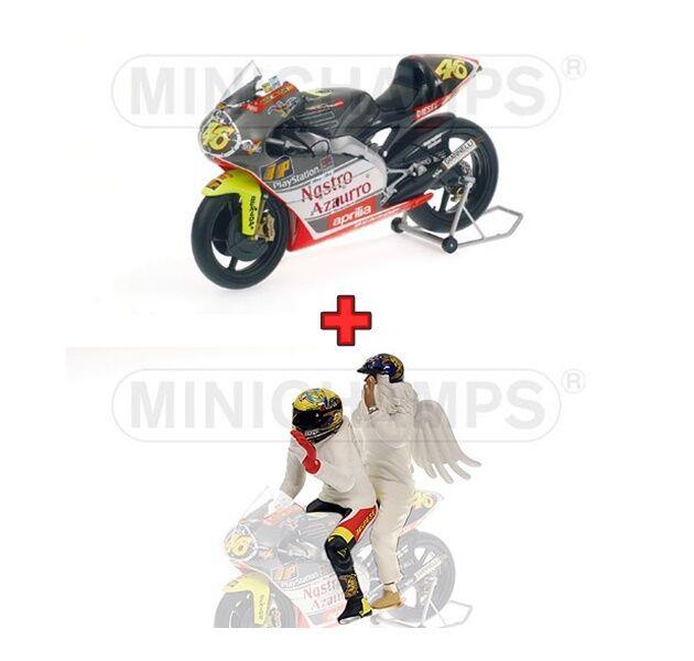 1:12 Minichamps Minichamps Minichamps Aprilia 250 GP + Figure Valentino Rossi 1999 Rio de Janeiro NEW 07f6b4