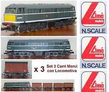 LIMA 220214 TRENO MERCI con LOCOMOTORE DIESEL Class31 GB + 4 VAGONI PECO SCALA-N