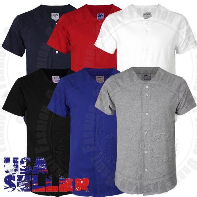 more photos fde5f 931da T Shirts Baseball Jersey Uniform Plain Short Sleeve Button Team Sports Mens  Kid