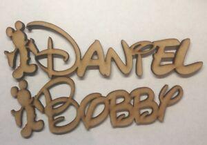 En Bois Découpé Au Laser 6 Mm & 9 Mm Mdf Mickey Et Minnie Mouse Disney Word Nom Plaque-afficher Le Titre D'origine