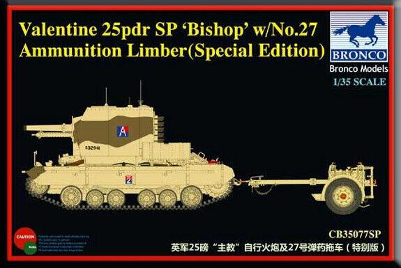 Bronco 1 35 Valentine 25 Pdr SP Bishop w  No. 27 Ammunition Limber CB35077SP