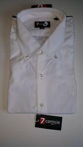Camisa-de-hombre-7-negocios-Italiano-Formal-Boton-Ajustado-Cuello-Blanco-totalmente-Nuevo