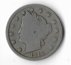 Rare-Very-Old-Antique-1912-US-Liberty-V-Nickel-Collection-Coin-USA-Cent-Money-K4
