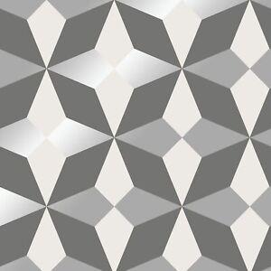 FD42549-fine-decor-Mono-Argent-Nova-Papier-Peint-Geometrique-Motif-Diamant