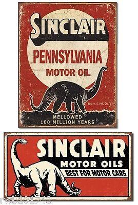 Sinclair Pennsylvania Motor Oil TIN SIGN SET dino metal poster garage wall decor