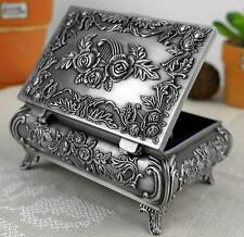 Vintage Metal Carve Rose Jewelry Storage Wedding Necklace Ring Organizer Box Z ぱ
