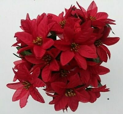 ARTIFICIAL RED POINSETTIA BUNCHES X 3