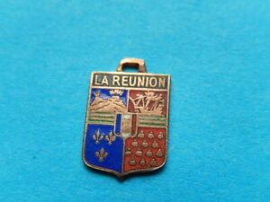 Vintage Enamel french Travel Shield Charms  LA REUNION VOLCANO ISLAND VITAM