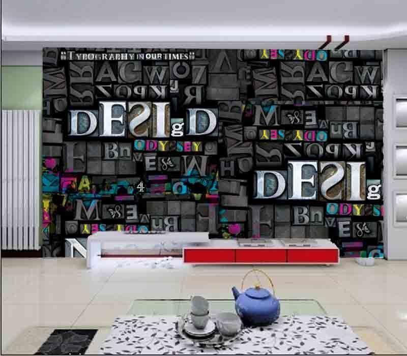 Splendid Dark Letter 3D Full Wall Mural Photo Wallpaper Printing Home Kids Decor