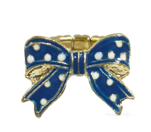Gold Blue Pearl Polka Dot Bow Ribbon Costume Jewellery Adjustable Ring