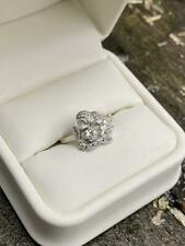 Vintage Retro Engagement Wedding Ring 1.26 Ct Round Diamond 14K White Gold Over