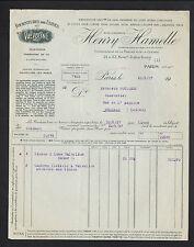 """PARIS (XI°) FOURNITURES pour USINES / VALVOLINE """"Henry HAMELLE"""" en 1937"""