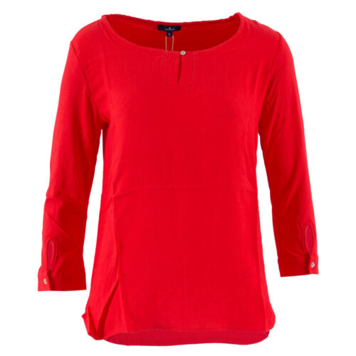 2XL S TOM TAILOR Damen Bluse 1056229-09-70 Fabric Mix Shirt Rot Tunika