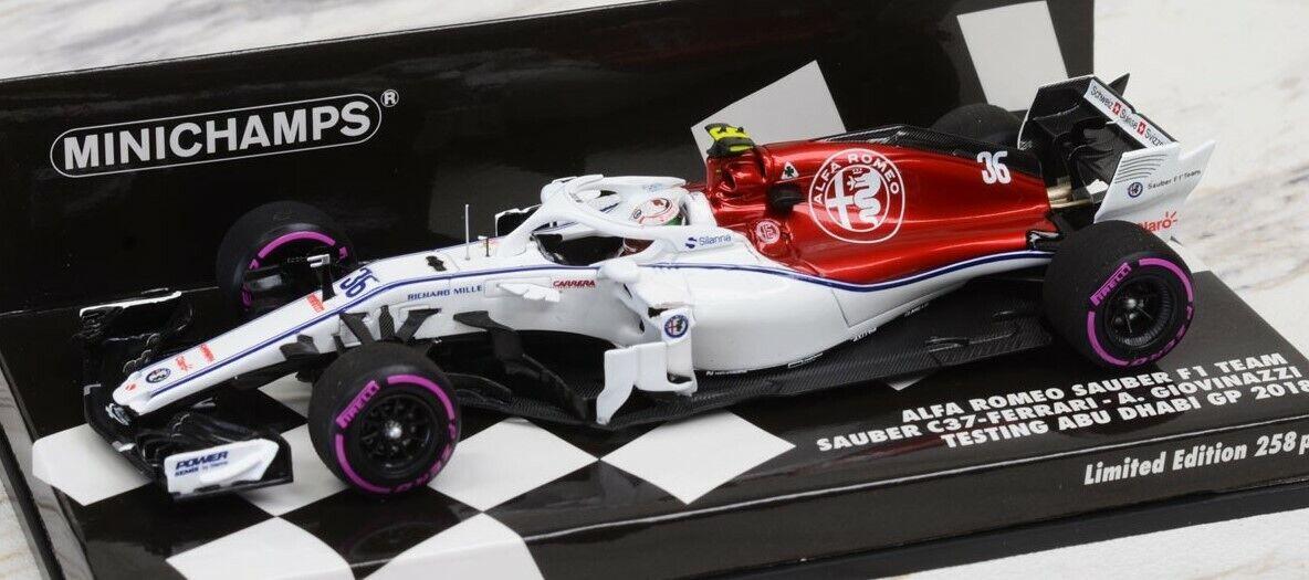 417182136 Minichamps 1 43 ALFAROMEO Sauber Antonio Jovi Naz Abu Dhabi test 2018