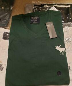 NWT-Abercrombie-amp-Fitch-Men-039-s-V-Neck-Big-Logo-T-Shirt-M-L-XL-Cotton-Dark-Green