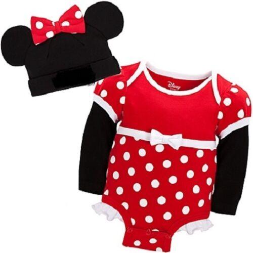MiNNie MoUSe~CuDDlY~ReD~BODYSUIT+CAP~NWT~0-24M~2yrs~Costume~Disney Store~Junior
