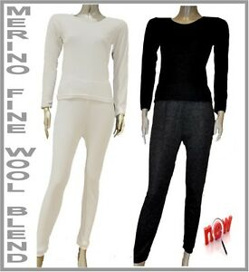 Ladies New Merino Fine Wool Thermal Underwear Set Top & Bottom ...