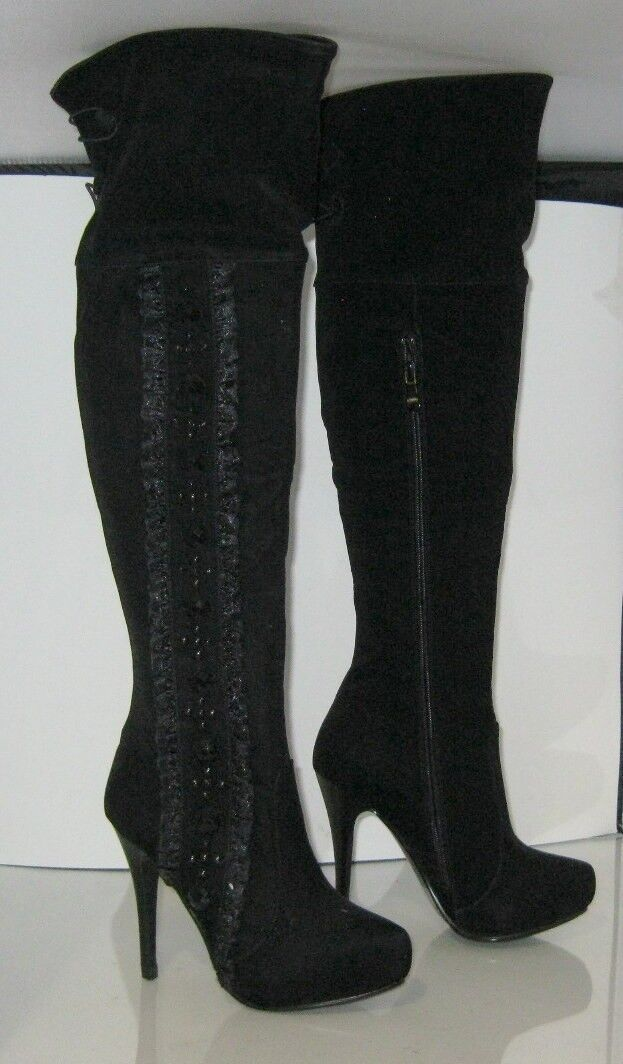 Black Lacy 5.5  Heel Round Toe Side Beads Stone Works Knee Sexy Boot Size 5.5