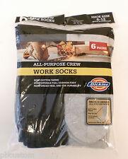 Mens DICKIES Cushioned Crew WORK SOCKS 6 PAIRS- GREY / BLACK  SIZE:10-13