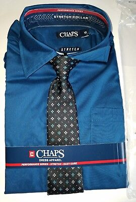 New Chaps Blue Dress Shirt with matching tie Boys size 16