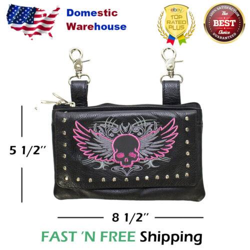Studded Naked Cowhide Premium Leather Hot Pink Skull Belt Bag Hip Clip Purse
