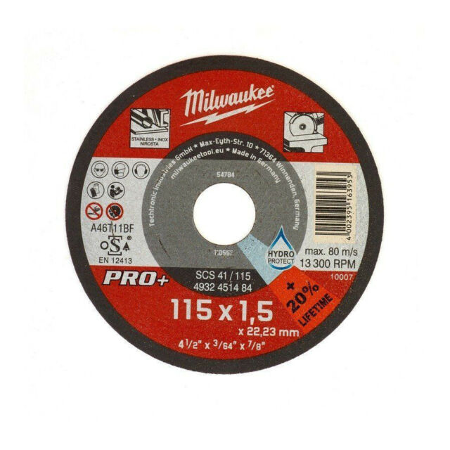 Milwaukee 1 Disk Cutting Thin Metal Ø115mm x1, 5mm for Grinder