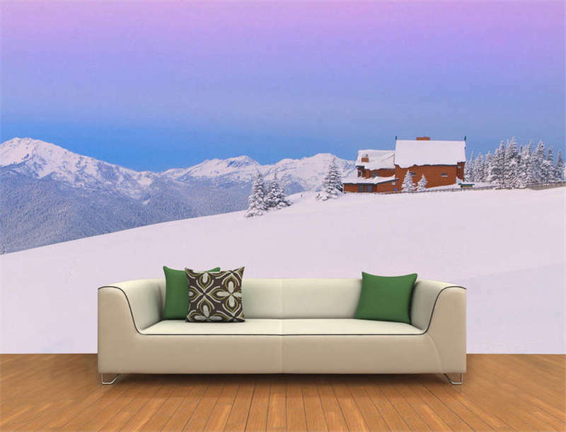 Wooden House Snow Full Wall Mural Photo Wallpaper Printing 3D Decor Kids Home